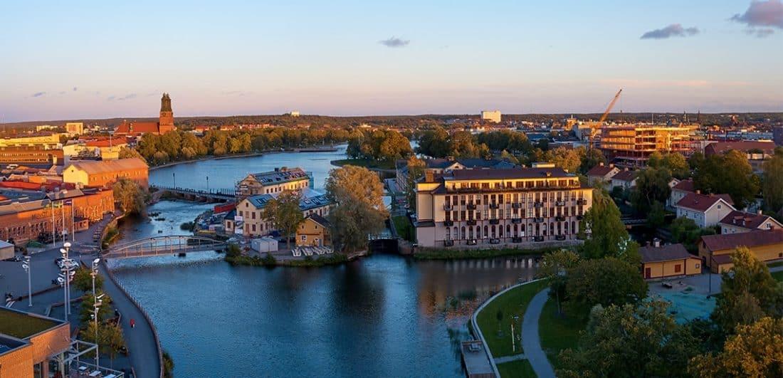 Flygbild över Faktoriholmarna i Eskilstuna som är ett av årets Karriärföretag