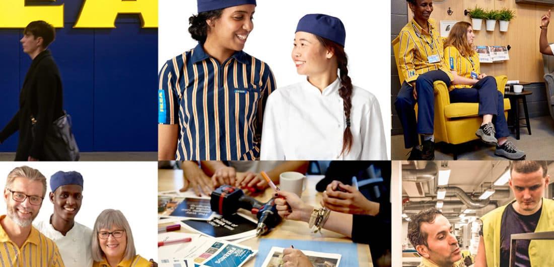 Collage av medarbetare på Ikea, ett av årets karriärföretag